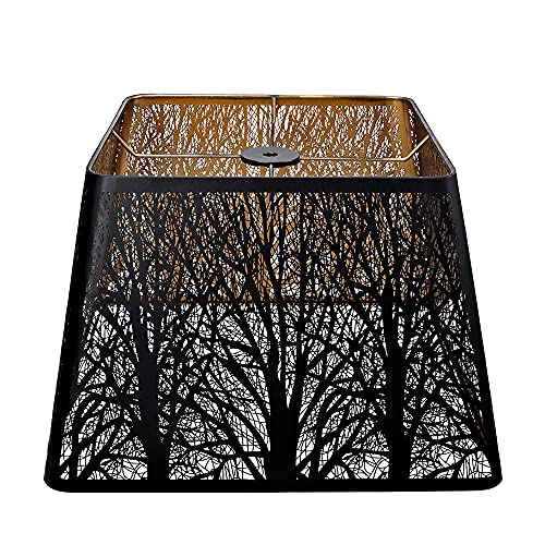 Medium Square Lamp Shades, Alucset Metal Lampshade with Pattern of Trees for Table Lamp and Floor Light, 9 x 12 x 8.5 Inch, Spider (Black/Gold)