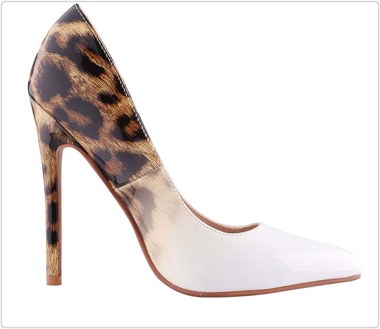 f2bb8e7561f HANGGE& PU Leather Leather Leather Pumps Super High Heels Leopard ...
