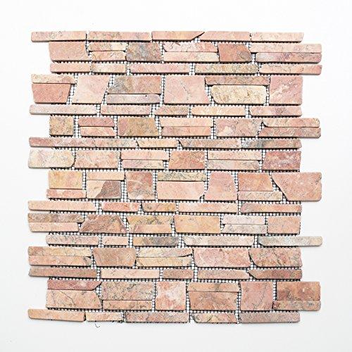 Mosaikfliesen Fliesen Mosaik Küche Bad WC Wohnbereich Fliesenspiegel Marmor Naturstein terracotta 8mm Neu #416