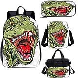 Juego de mochila para adolescentes de 15 pulgadas, monstruosa Head Figure Rex, juego de bolsas escolares para trabajo, escuela, viajes, picnic