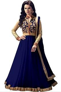 HD Enterprise Women Georgette Long Anarkali Salwar Suit/Gown With Dupatta