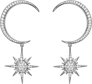 Orris Diamond Cubic Zirconia Mounted Star and Crescent Moon Style Dangle Drop Earrings for Women Girls