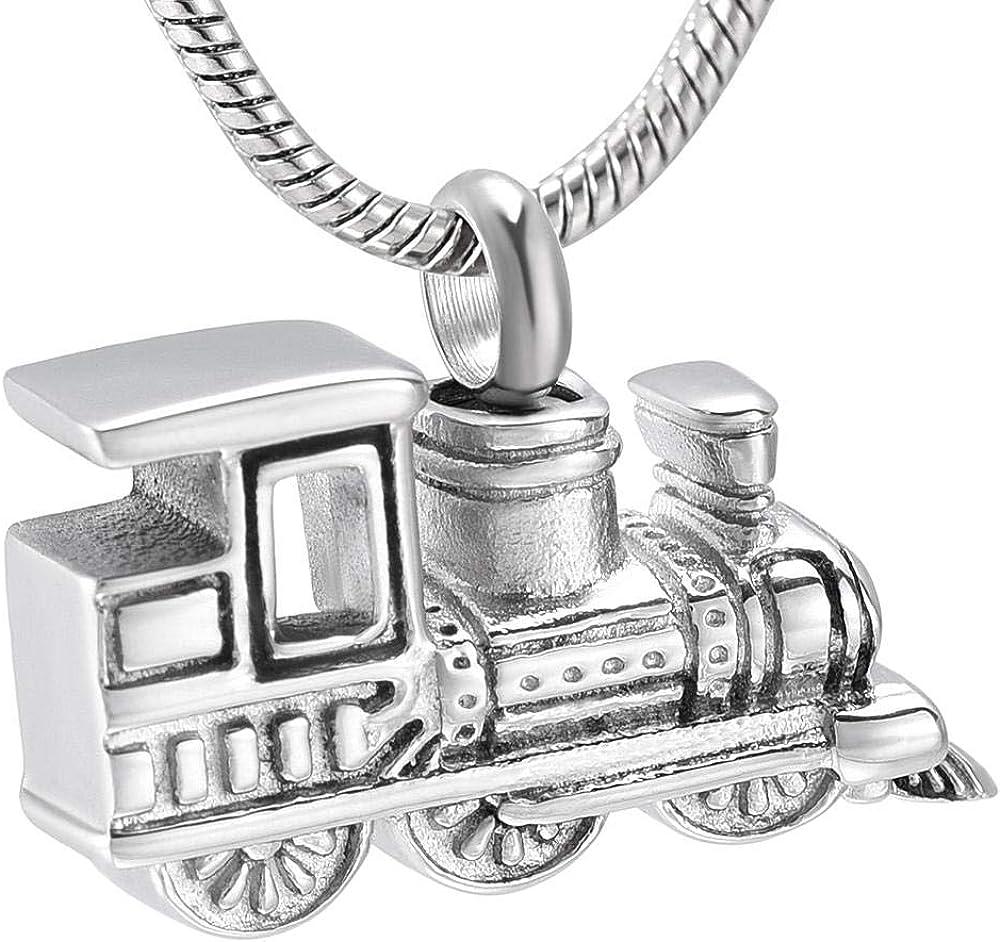 Max 83% OFF QQJJSUDIW Necklace Pendant Memorialstainless Cremati Train 40% OFF Cheap Sale Steel