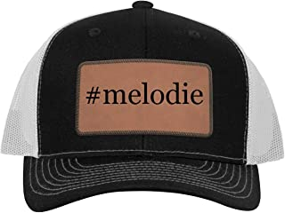 One Legging it Around #Melodie - Hashtag Leather Dark Brown Patch Engraved Trucker Hat