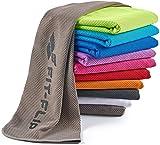 Fit-Flip Kühlendes Handtuch 100x30cm, Mikrofaser Sporthandtuch kühlend, Kühltuch, Cooling Towel, Mikrofaser Handtuch| Farbe: grau, Größe: 100x30cm