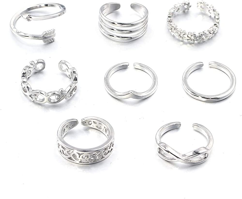 N-A 8Pcs Wave Flower Heart Open Toe Rings Infinity Arrow Geometric Bare Feet Ring Set Women Girls Summer Beachy Jewelry