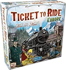 A fast-paced, award-winning board game Connect iconic European cities and build train routes to earn points Introduces Ferries and powerful Locomotive cards to claim unique routes 2 to 5 players, 30 to 60 minutes, ages 8+