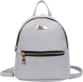 Pocciol Women Leather Backpack School Shoulder Bags Rucksack College Satchel Travel Bag (Gray)