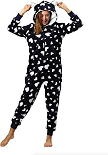 Elonglin Women's Hooded Fleece Non-Footed Onesie Pajamas Loungewear One Piece Pyjamas Jump Sleep Suit