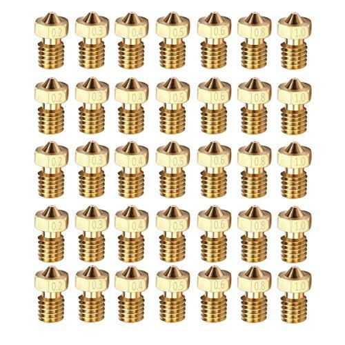 DollaTek 35PCS M6 1.75mm Stampante 3D 0.2mm 0.3mm 0.4mm 0.5mm 0.6mm 0.8mm 1.0mm Estrusore Testina di stampa ugello in ottone per E3D Makerbot (5 pezzi/ogni dimensione)