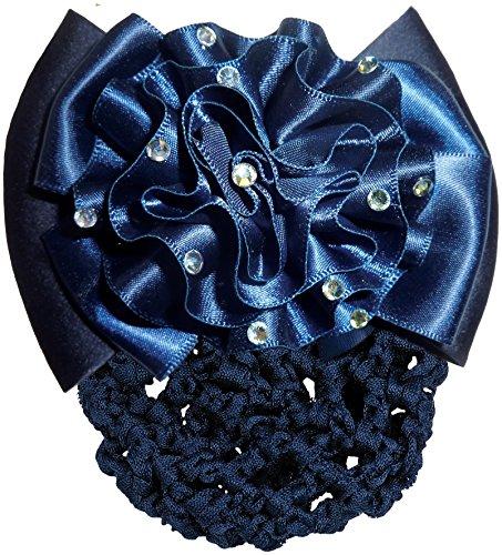 Résille Pour Cheveux Pour Concours Equitation - Fleur - Bleu Marine