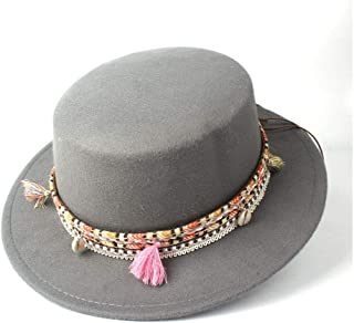 Pork Pie Hat Fedora Trilby Women Men Flat Top Fedora Hat with Belt Bowler Hat Trilby Outdoor Travel Church Casual Wild Hat Size 56-58CM (Color : Gray, Size : 56-58)
