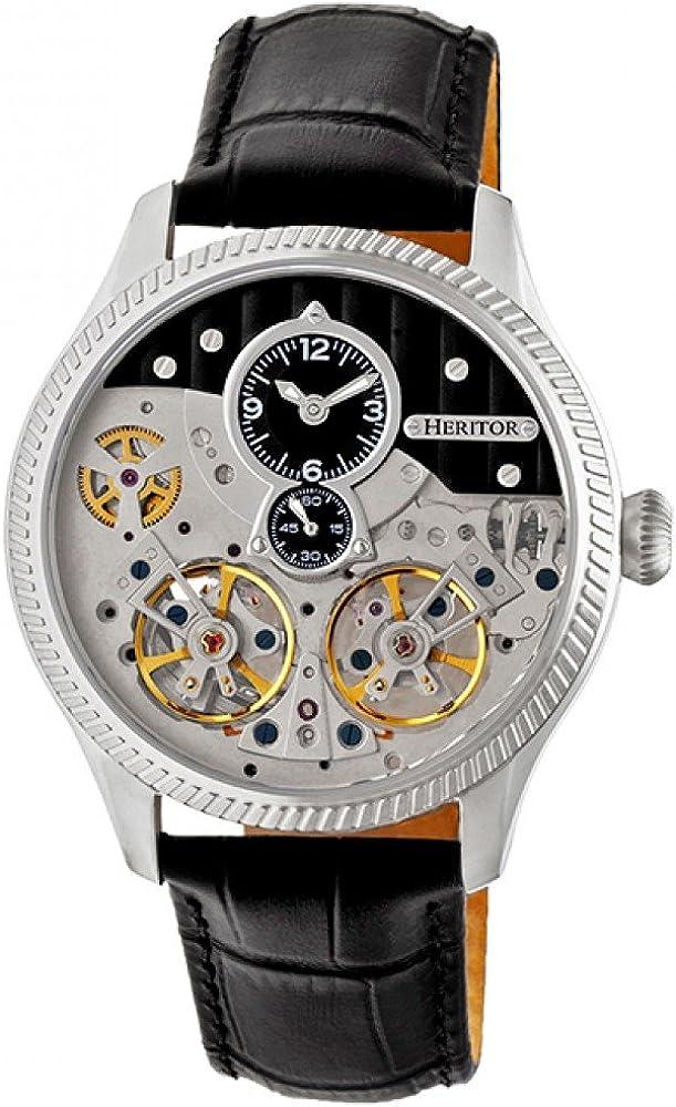 Heritor, orologio automatico per uomo,in acciaio inossidabile 316l,cinturino in vera pelle di coccodrillo HERHR7302