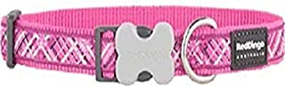 Red Dingo L6-FN-HP-15 Flanno Dog Collar, Small-Medium, Hot Pink
