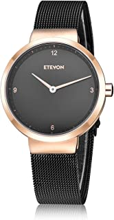 ETEVON Women's Quartz Analog Watch with Stainless Steel Band and Ultra-Thin Mesh Bracelet Waterproof, Simple Dress Wrist Watches for Women