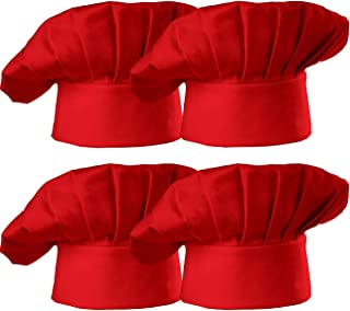 Hyzrz Chef Hat Set of 4 PCS Pack Adult Adjustable Elastic Baker Kitchen Cooking Chef Cap, Red