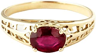 1.15 ct 14K Solid White Rose Yellow Gold Filigree Solitaire Ring with Ruby 2330
