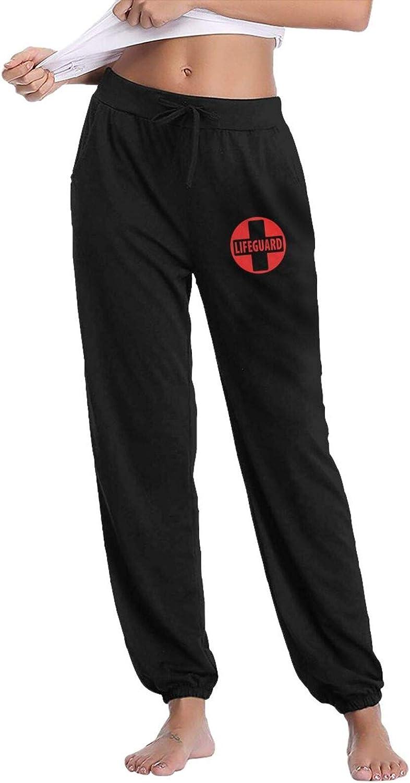 Lifeguard Gear Logo Women's Comfy Casual Pants, Lounge Long Sweatpants Classic Drawstring Trousers with Pockets
