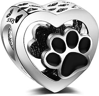 LaMenars Abalorios Charms Originales de Plata de Ley 925 Pata de Perro en Forma de Corazón Colgantes para Pandora & Europe...