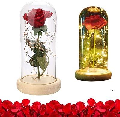 Amazon Com Adarl 24k Rose Flower Glass Rose With Led