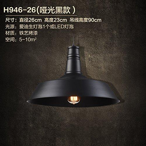 Luckyfree Retro Industrie eenvoudige ijzeren hanglamp kamer bar café restaurant keuken gang lampen plafondlamp kroonluchter, zwart mat-26