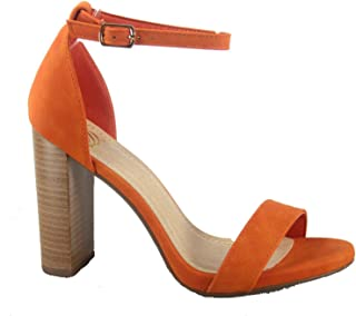 FZ-Shiner-01 Women's Fashion Open Toe Ankle Strap Chunky Stack Heel Sandal Shoes