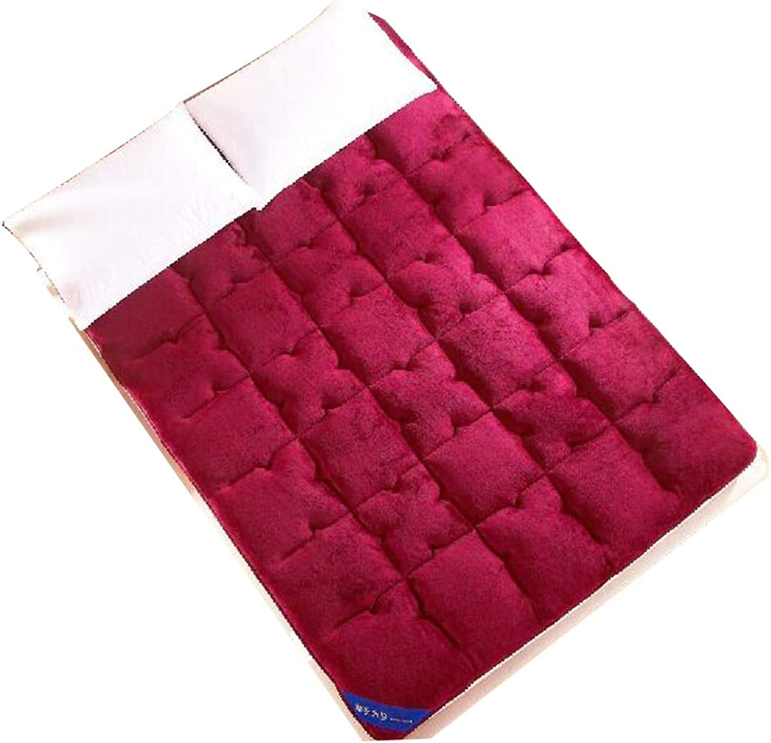 Flannel Portable Mattress pad, Quilting Non-Slip Tatami Mattress Ultra Soft Mattress Topper Floor futon mattresses-red 90x200cm(35x79inch)