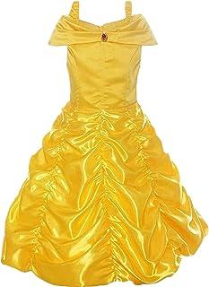 Disfraz de Princesa Belle Vestido de Fiesta Cosplay para niñas Halloween Niña Princesa Belle Disfraz Tul Fiesta Trajes Vestido