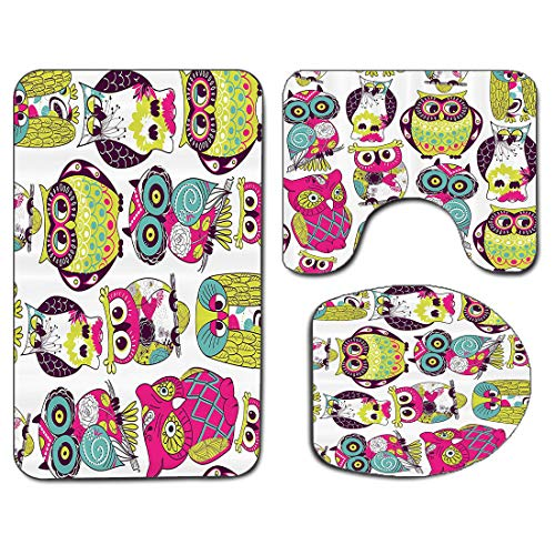 3Pcs Non-Slip Bathroom Rug Toilet Seat Lid Cover Set Kids Soft Skidproof Bath Mat Owl Owls Eyes with Funny Cute Best Friends Forever Animal Themed Babies Nurse Nursery Fun Fuchsia Green Yellow White T