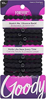 Goody 2013352 Ouchless Forever Elastics, Black ' 10 Units