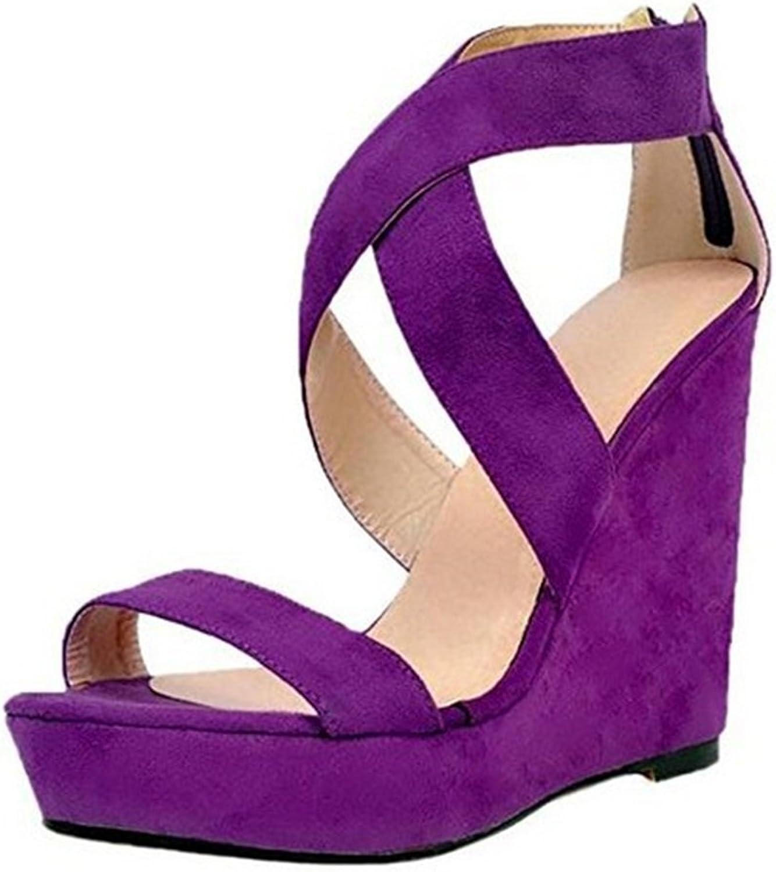 Exing Women's shoes New PU(Polyurethane) Summer Sandals Purple Cross Waterproof Platform Ladies shoes Wedge Heels Sandals
