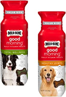 Milk-Bone Good Morning Daily Vitamin Treats 2 Flavor Variety Bundle: Milk-Bone Healthy Joints and Milk-Bone Total Wellness...