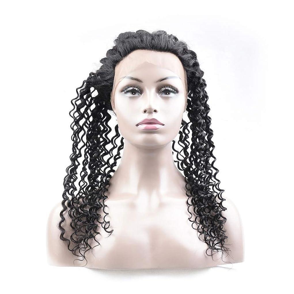才能半導体馬鹿Yrattary ブラジルのディープウェーブ人間の髪の毛360レース前頭かつら12インチ未処理のバージンヘアウィッグナチュラルカラー (色 : 黒, サイズ : 14 inch)