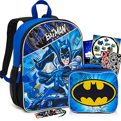 Batman Backpack with Lunchbox Set for Boys Kids ~ 6-Piece Bundle ~ Deluxe 16' Batman Backpack with Insulated Lunch Bag. Stickers, and More (Batman School Supplies)