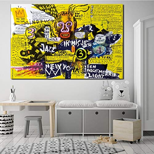 baodanla Geen frame Jean Michel Abstract Street Graffiti Wall Art Canvas Poster En Print Canvas ng Decoratieve Beeld Voor Slaapkamer Home Decor