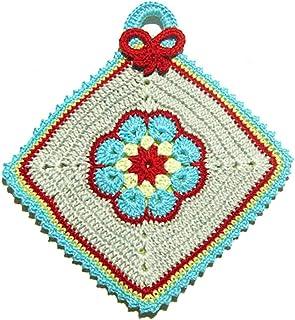 Agarradera de colores con flor afgana de ganchillo - Tamaño: 15.5 cm x 17 cm H - Handmade - ITALY