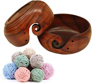 SHZONS Yarn Bowl, Wooden Knitting and Crochet Bowl for Yarn Storage,Portable Wooden Yarn Storage Bowl,Knitting and Crochet Yarn Holder
