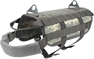 Outry Tactical Dog Training Harness MOLLE Vest with Pulling Handle, 4 for Both Small and Large Dogs