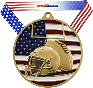 Football Patriotic Medal - 2.75 Inch Wide Gridiron Medallion with Stars and Stripes American Flag V Neck Ribbon - Decade Awards