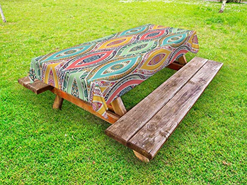 Ambesonne Traditional Outdoor Tablecloth, Ornamental Middle Eastern Ottoman Persian Bohemian Antique Motif, Decorative Washable Picnic Table Cloth, 58