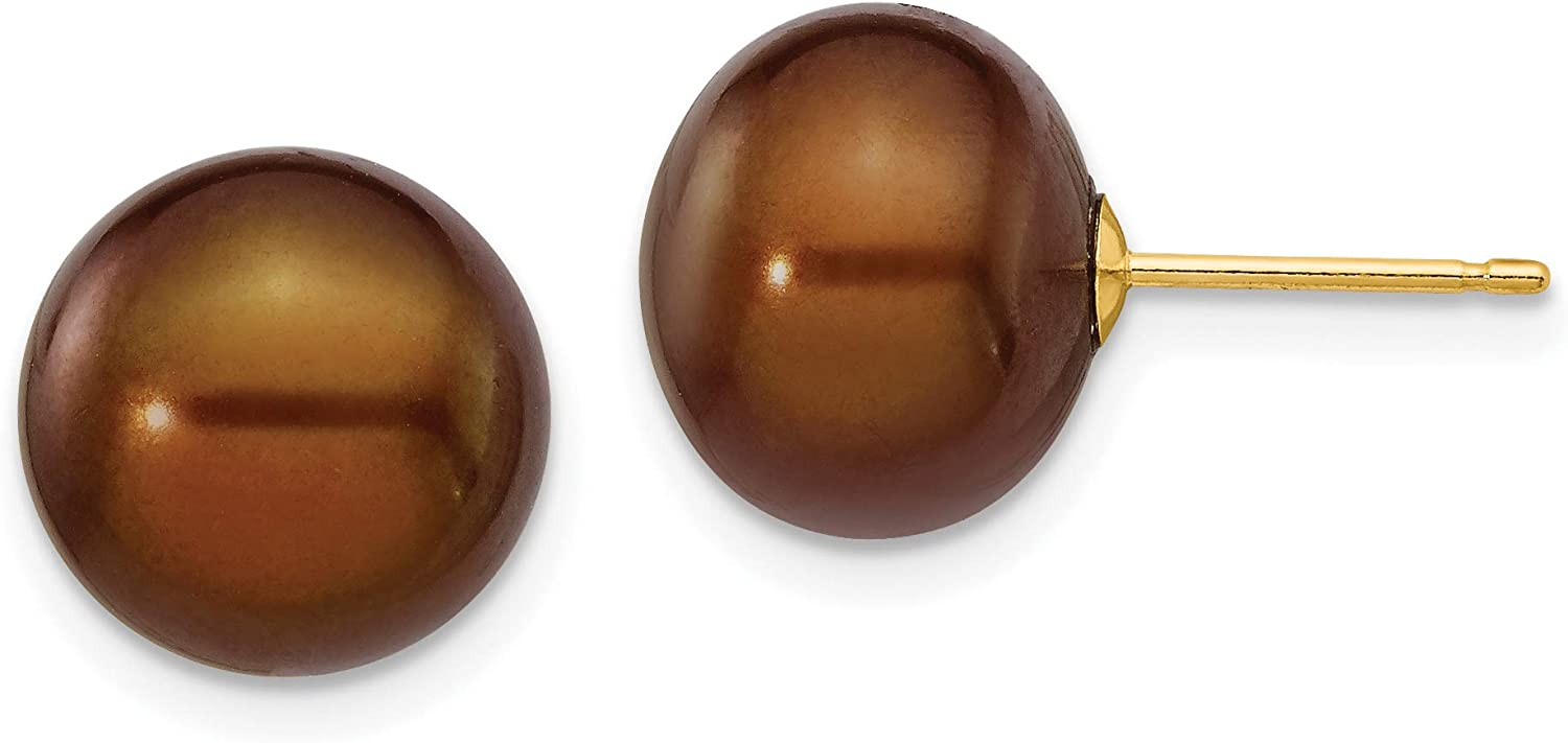 Chocolate Brown Freshwater Cultured Button Pearl Post Earrings in Real 14k Yellow Gold