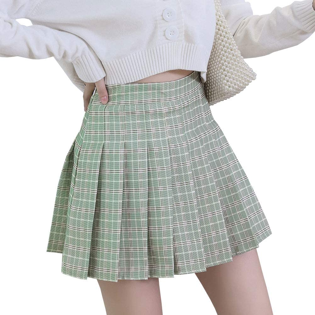 LPATTERN Mujeres//Ni/ñas Falda Dulce de Cuadros Falda Plisada Coreana B/ásica Falda Escolar Tart/án Falda Plisada de la Cintura Alta Falda De Una L/ínea Falda Mini Corta El/ástica