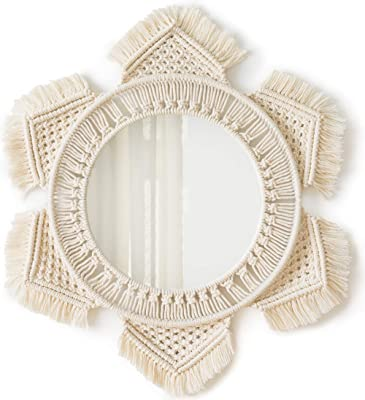Happycraft Hanging Wall Mirror with Macrame Fringe Round Mirror Decor for Apartment Living Room Bedroom Baby Nursery,Best
