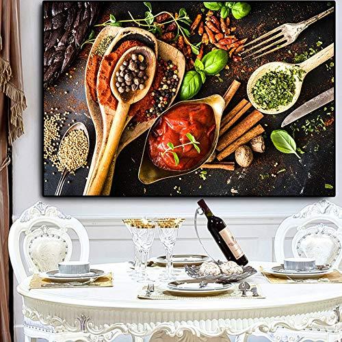 Pintura sin Marco Cereales y Especias Cuchara y Tenedor Cocina Lienzos Carteles e Impresiones Arte de la paredCGQ6255 40X60cm
