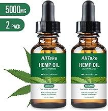 Hemp Oil for Pain & Stress Relief, Alitake 100% Natural Hemp Seed Extract Rich in Vitamin & Omega -Helps with Sleep, Skin & Hair, Zero THC CBD Cannabidiol(2 Pack 5000MG)