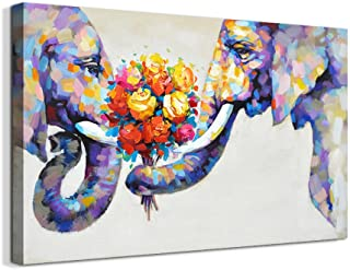 Elephant Painting Original Art Animals Wall Art Oil on Canvas Size 12 By 12 By KateLeftHandedArt