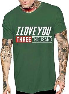 """Boybya メンズ Tシャツ アベンジャーズ """"I love you three times"""" オシャレ トップス 快適 ファッション ゆったり ブランド Avengers カジュアル 目立つ スポーツ かっこいい 人気 ストリート 旅行 普段着"""