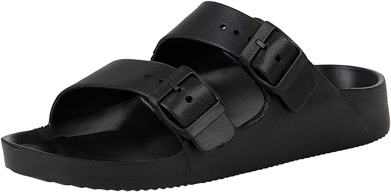 Unisex Slides Sandals Men's Women's Adjustable Double Buckle Lightweight EVA Comfort Footbed Flat Slip on Sandal with Arch Support