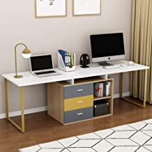 Tribesigns 87 Inches Computer Desk for Two Person, Adjustable Double Workstation Extra Long Office Desk with File Cabinet, Large Reversible L-Shaped Desk for Home Office, White + Gold Metal Legs