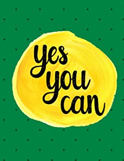 Yes You Can: 100 Pages Ruled - Notebook, Journal, Diary, Forest Green Dots (Large, 8.5 x 11)